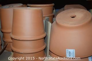Lot of Terracotta Pots and Saucers (3)