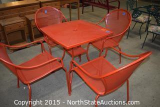 Red Metal Outdoor Table and Chairs