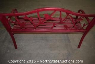 Metal Red Outdoor Bench