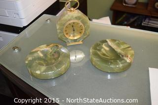 Jade Ashtrays and Clock Set