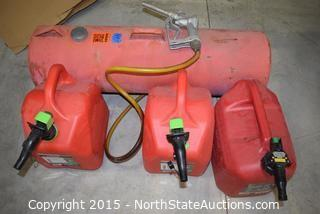 Lot of Gas Cans and a Gas Tank