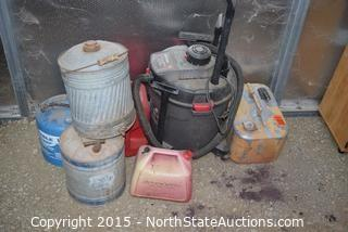 Gas Cans and Hoover Wet/Dry Vac