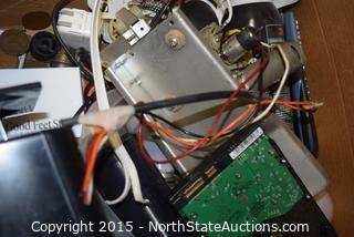 Lot of Lloyd Enterprises CRTs, General Electric TV, and box of misc