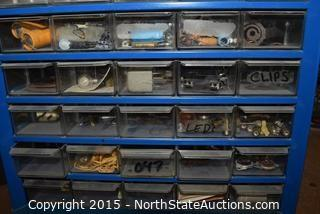 Lot of Small Parts Bins and Walsco Electronics Display