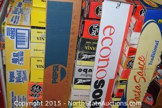 Shelf Full of Electronic Tubes (Various Brands and sizes)