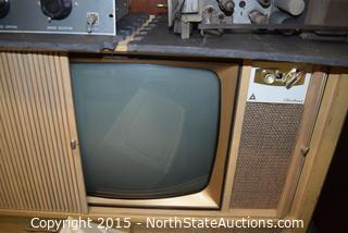 Lot of  Vintage TV, TV Chassis, Shower Pan and Box of Misc Items