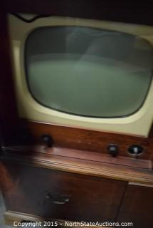 Vintage Radio, RCA 45 Player TV set and Box of Misc Cables and Electronics