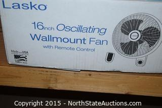 Lasko 16in  Oscillating Wall Mount Fan