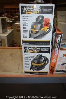 Lot of Stinger 2.5-Gallon Wet and Dry Vac And Bucket Head