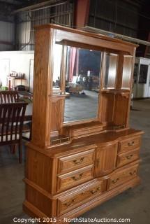 Big Dresser with Mirrored Hutch