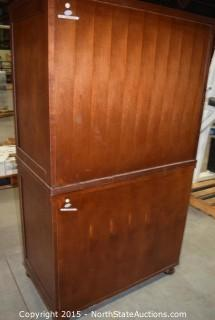 Two Drawer File Cabinet with Hutch
