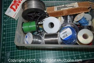 Lot of Small Wire/Cable and Solder Iron