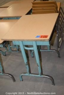 Lot of Old School Desks and Chairs