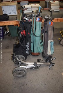 Lot of Golf Clubs and Bags