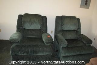 Pair of Dual Vibrating Rocking Recliner Chairs