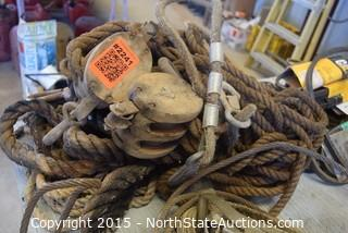Lot of Tie Downs and Pulleys , Rope
