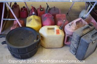 Lot of Gas/Oil Cans