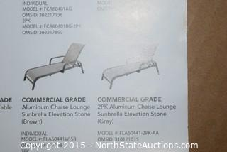 Aluminum Sling Stacking Chaise Lounge With Sunbrella Elevation Stone